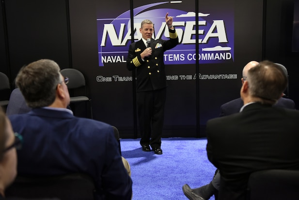 Capt. John Markowicz, Program Manager, In-Service Aircraft Carriers (PMS 312), PEO Carriers, gives a program update on Creativity and Innovation for the Life Cycle during the 2018 Sea-Air-Space Exposition