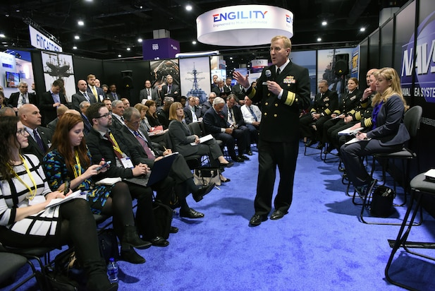 Rear Adm. John Neagley, Program Executive Office, PEO USC, participates in a panel discussion on PEO Unmanned and Small Combatants (USC) during the 2018 Sea-Air-Space Exposition