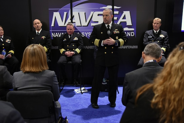 Capt. John Rucker, Program Manager, Unmanned Maritime Systems (PMS 406), participates in a panel discussion on PEO Unmanned and Small Combatants (USC) during the 2018 Sea-Air-Space Exposition