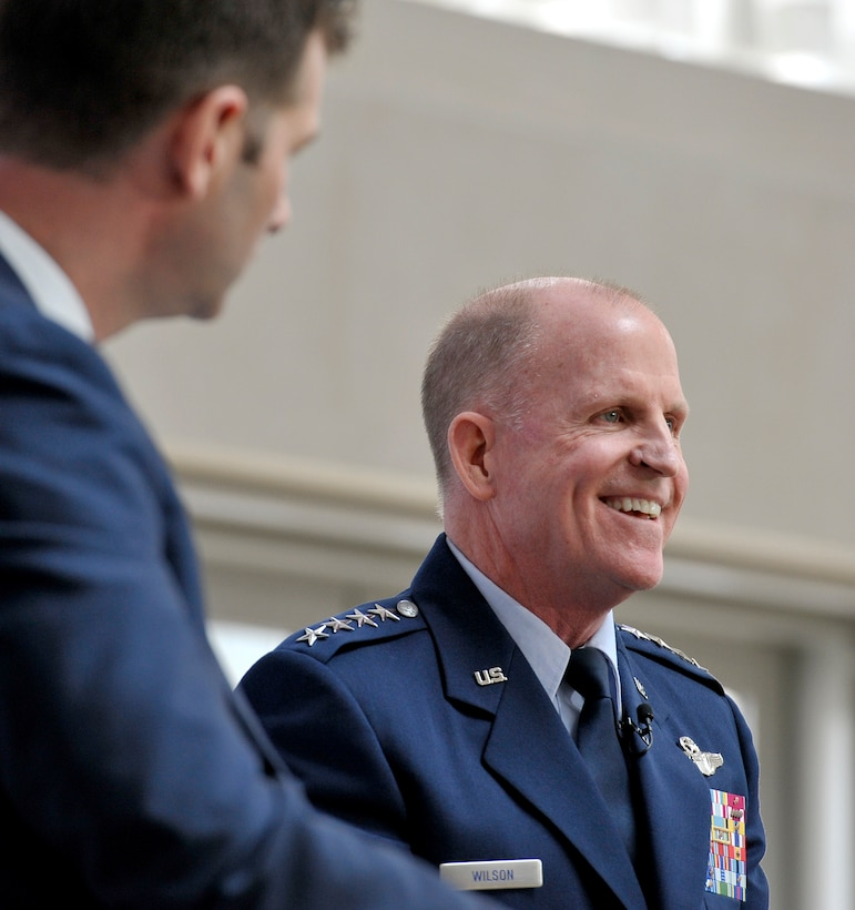 Vice Chief of Staff of the Air Force Gen. Stephen Wilson speaks during the 2018 Future of War Conference April 9, 2018, in Washington, D.C. Wilson discussed how the service will fight in the future. (U.S. Air Force photo by Tech. Sgt. Robert Barnett)