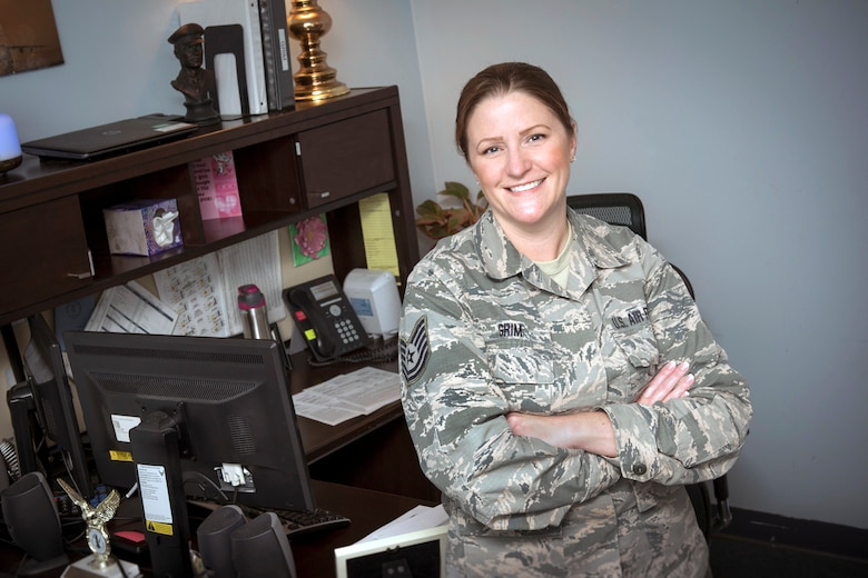 Tech. Sgt. Christina Grim, a budget analyst for the 167th Comptroller Flight, was selected as the 167th Airlift Wing's Airman Spotlight for April. (U.S. Air National Guard photo by Senior Master Sgt. Emily Beightol-Deyerle)