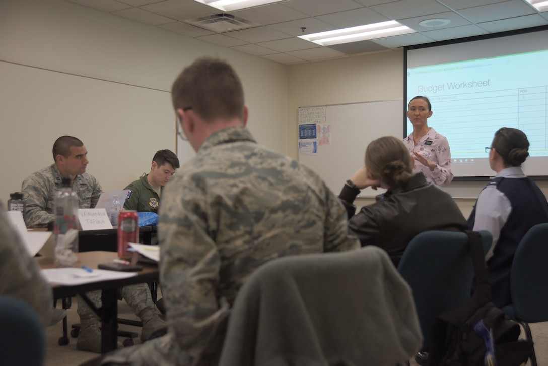 Nine lieutenants and captains from various career fields attended McConnell's first Flight Commander Course April 5, 2018, at McConnell Air Force, Kansas. The course was designed to prepare young officers as they grow into future leadership roles. (U.S. Air Force photo by Senior Airman Chris Thornbury)