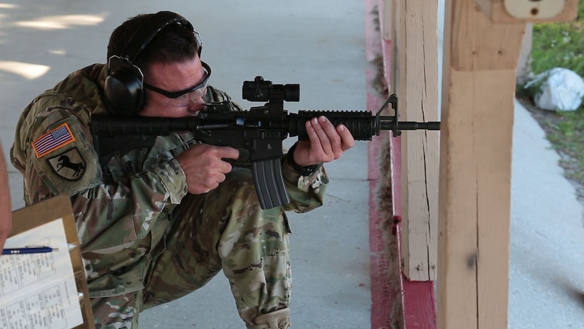 U.S. Army Sgt. 1st Class Scott Baranek fires an M4 carbine rifle during a weapons assembly and target range event that was part of U.S. Central Command's Service Member of the Year (SMOY) competition. Baranek was announced as Senior SMOY during an awards ceremony April 6. (Photo by Tom Gagnier)