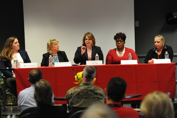 "Meagan Brantley, Center Contracting, Kay Sommerkamp, Office of Counsel, Betina Johnson, Ordnance and Explosives Directorate, Lilian Fox, Center Contracting and Valerie Klinkenbeard, Engineering Directorate, spoke in depth about their experiences during the U.S. Army Engineering and Support Center, Huntsville's Equal Employment Opportunity office-sponsored Women's History Month 2018 event March 29. The theme, ""Nevertheless She Persisted,"" brought attention to each panelists' persistence to succeed professionally and also shed light upon how the Center has changed over the years."