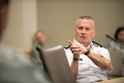Army Command Sgt. Maj. John W. Troxell, senior enlisted advisor to the chairman of the Joint Chiefs of Staff, speaks to airmen attending an Air Force Element Senior Enlisted Leader Conference at the Pentagon.