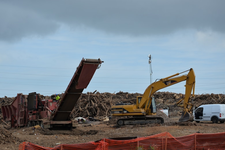 A U.S. Army Corps of Engineers Temporary Debris Reduction Site at Los Alamos in Puerto Rico, Mar. 15, 2018.