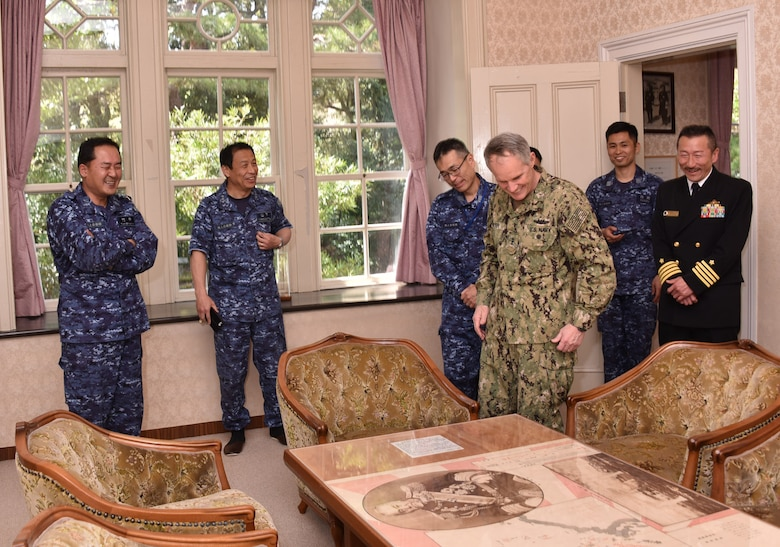 KYOTO, Japan (April 10, 2018) Vice. Adm. Phil Sawyer, commander, U.S. 7th Fleet, center, visits Togo-tei, the official residence of former Japanese Imperial Navy admiral Togo Heihachiro as a guest of Japan Maritime Self-Defense Force (JMSDF) Kazuki Yamashita, second from left, commandant of the JMSDF Yokosuka District and Vice Adm. Takehisa Nakao, commandant of the Maizuru District. Sawyer visited the Maizuru District headquarters in Kyoto to reinforce 7th Fleet's close, long-standing partnership with the JMSDF throughout Japan.