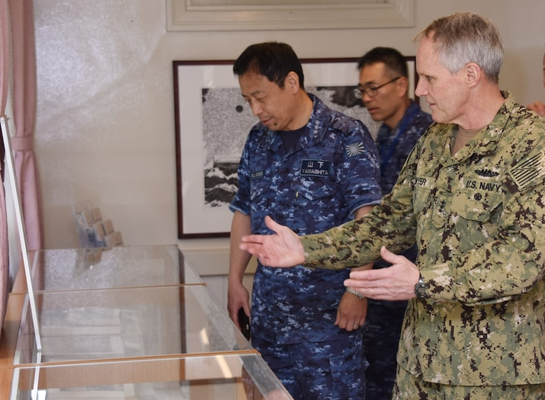 KYOTO, Japan (April 10, 2018) Vice. Adm. Phil Sawyer, commander, U.S. 7th Fleet, forefront, visits Togo-tei, the official residence of former Japanese Imperial Navy admiral Togo Heihachiro as a guest of Japan Maritime Self-Defense Force (JMSDF) Vice Adm. Kazuki Yamashita left, commandant of the JMSDF Yokosuka District and Vice Adm. Takehisa Nakao, commandant of the Maizuru District. Sawyer visited the Maizuru district headquarters in Kyoto to reinforce 7th Fleet's close, long-standing partnership with the JMSDF throughout Japan.