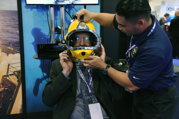 Diver Augmented Visual Display (DAVD) diver mask is tested by Andrew Thain at the 2018 Sea-Air-Space Exposition