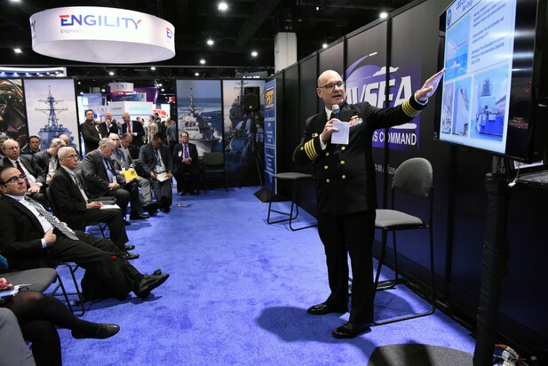 Capt. Kevin Smith, Program Manager, DDG 1000 (PMS 500), PEO Ships, gives a program update on the DDG 1000 during the 2018 Sea-Air-Space Exposition