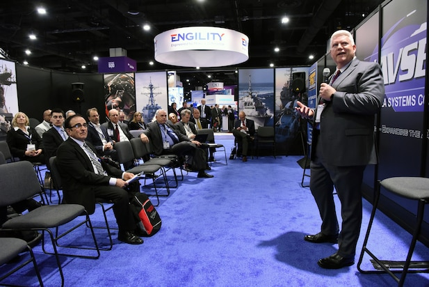 Steven Cress, Technical Director, SCSC Wallops Island, PEO IWS, gives a program update on The Evolution of Surface Combat System Center during the 2018 Sea-Air-Space Exposition