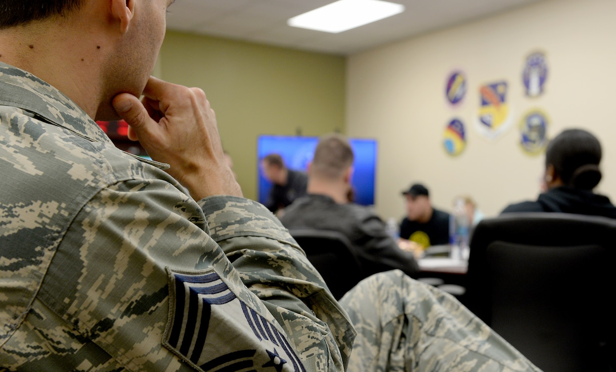 The 688th Cyberspace Wing wrapped up its Airpower Leader Academy mentorship program April 12, 2018, at Joint Base San Antonio-Lackland, Texas. ALA provided 11 staff and technical sergeants the opportunity to learn from nine senior noncommissioned officers in order to develop their personal leadership philosophy. (U.S. Air Force photo by Tech. Sgt. R.J. Biermann)