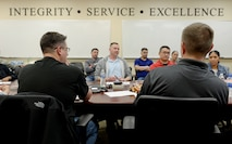 Airpower Leadership Academy students and facilitators discuss leader traits during one of the program's 10 weekly mentorship sessions, Feb. 15, 2018, at Joint Base San Antonio-Lackland, Texas. ALA provided 11 staff and technical sergeants the opportunity to learn from nine senior noncommissioned officers in order to develop their personal leadership philosophy. (U.S. Air Force photo by Tech. Sgt. R.J. Biermann)