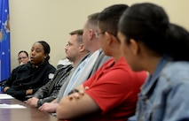 Staff Sgt. Amanda Harris, 346th Test Squadron commander's support staff NCO in charge, shares her personal leadership philosophy during an Airpower Leadership Academy session, Feb. 15, 2018, at Joint Base San Antonio-Lackland, Texas. ALA provided 11 staff and technical sergeants the opportunity to learn from nine senior noncommissioned officers in order to develop their personal leadership philosophy. (U.S. Air Force photo by Tech. Sgt. R.J. Biermann)