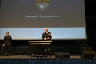 Adm. Kurt W. Tidd  speaks to midshipmen at the U.S. Naval Academy.