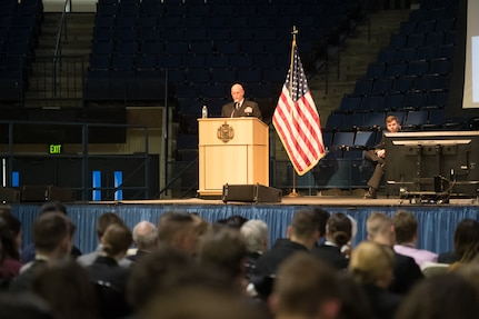 Adm. Kurt W. Tidd  speaks to midshipmen at the U.S. Naval Academy.