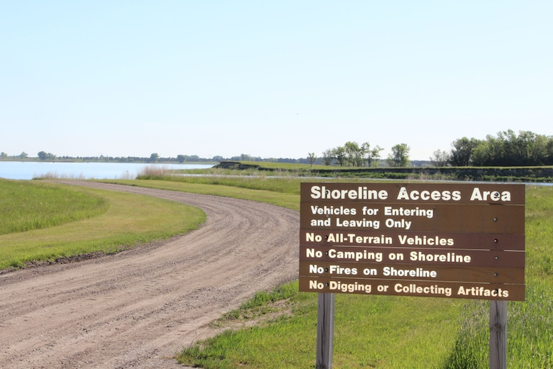 Lake Sakakawea Shoreline Access Area posted sign