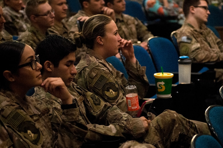 """Team Moody Airmen watch an alcohol-related demonstration during Moody's Alcohol Awareness Day, March 9, 2018, at Moody Air Force Base, Ga. Moody's Alcohol Drug and Prevention Treatment program hosted the event as part of Alcohol Awareness Month, with this year's theme being """"Changing Attitudes: It's not a 'rite of passage.'"""" The focus of the event was geared towards educating Airmen on how to drink responsibly and the effects of drunken driving. (U.S. Air Force photo by Airman 1st Class Erick Requadt)"""
