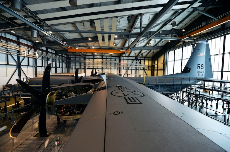 A U.S. Air Force C-130J Super Hercules assigned to the 86th Airlift Wing undergoes maintenance work on Ramstein Air Base, Germany, April 10, 2018. The 86th Airlift Wing maintains approximately a dozen C-130Js, which are used for various missions around the U.S. Air Forces in Europe-Air Forces Africa area of responsibility. (U.S. Air Force photo by Senior Airman Joshua Magbanua)