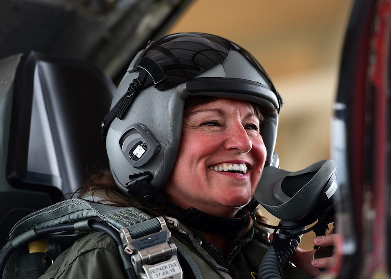 Cathy Felty, Florida's Bay County Teacher of the Year, smiles from the cockpit of a T-38 Talon prior to a familiarization flight at Tyndall Air Force Base, Fla., April 9, 2018. Felty was flown after undergoing several safety briefings, medical screenings and mission brief. (U.S. Air Force photo by Airman 1st Class Isaiah J. Soliz/Released)
