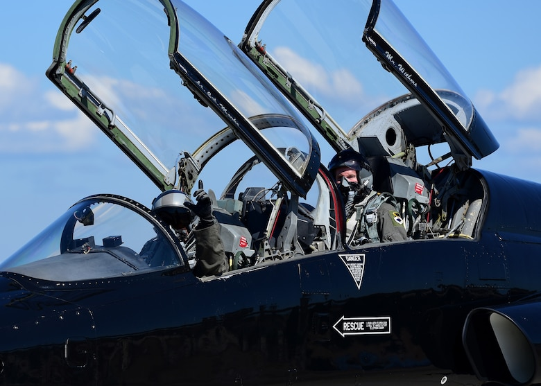 U.S. Air Force Col. Michael Hernandez, 325th Fighter Wing commander(left), and U.S. Senator Bill Nelson (right), of Florida, taxi in a T-38 Talon during a familiarization flight at Tyndall Air Force Base, Fla., April 3, 2018. The Florida senator was flown in a T-38 to better familiarize him with Tyndall's mission and the base's impact on the local, state and national arenas. He was flown after undergoing several safety briefings, medical screenings, and a mission brief given by Hernandez. (U.S. Air Force photo by Airman 1st Class Isaiah J. Soliz/Released)