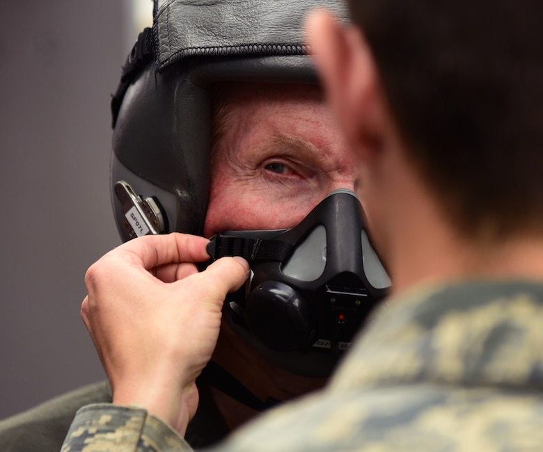 U.S. Senator Bill Nelson, of Florida, is fitted for flight gear by Airman 1st Class Aaron Cusick, 325th Operations Support Squadron aircrew flight equipment technician, prior to a familiarization flight at Tyndall Air Force Base, Fla., April 3, 2018. The senator was flown in a T-38 Talon after undergoing several safety briefings, medical screenings and a mission brief given by Col. Michael Hernandez, 325th Fighter Wing commander. (U.S. Air Force photo by Airman 1st Class Isaiah J. Soliz/Released)