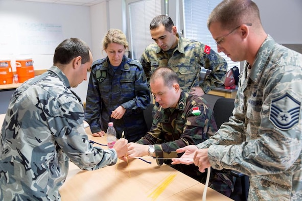 Students from partner nations work together in a joint exercise at the Inter European Air Forces Academy. The Air Force Culture and Language Center seeks to form a corps of general purpose Airmen to take on missions around the world through its Language Enabled Airman Program. (Courtesy photo, AFCLC)