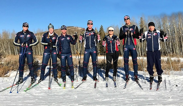 Members of the 2017 Colorado National Guard Biathlon team pose for a photo during ski training at Snow Mountain Ranch in Granby, Colorado, Dec. 15, 2017.