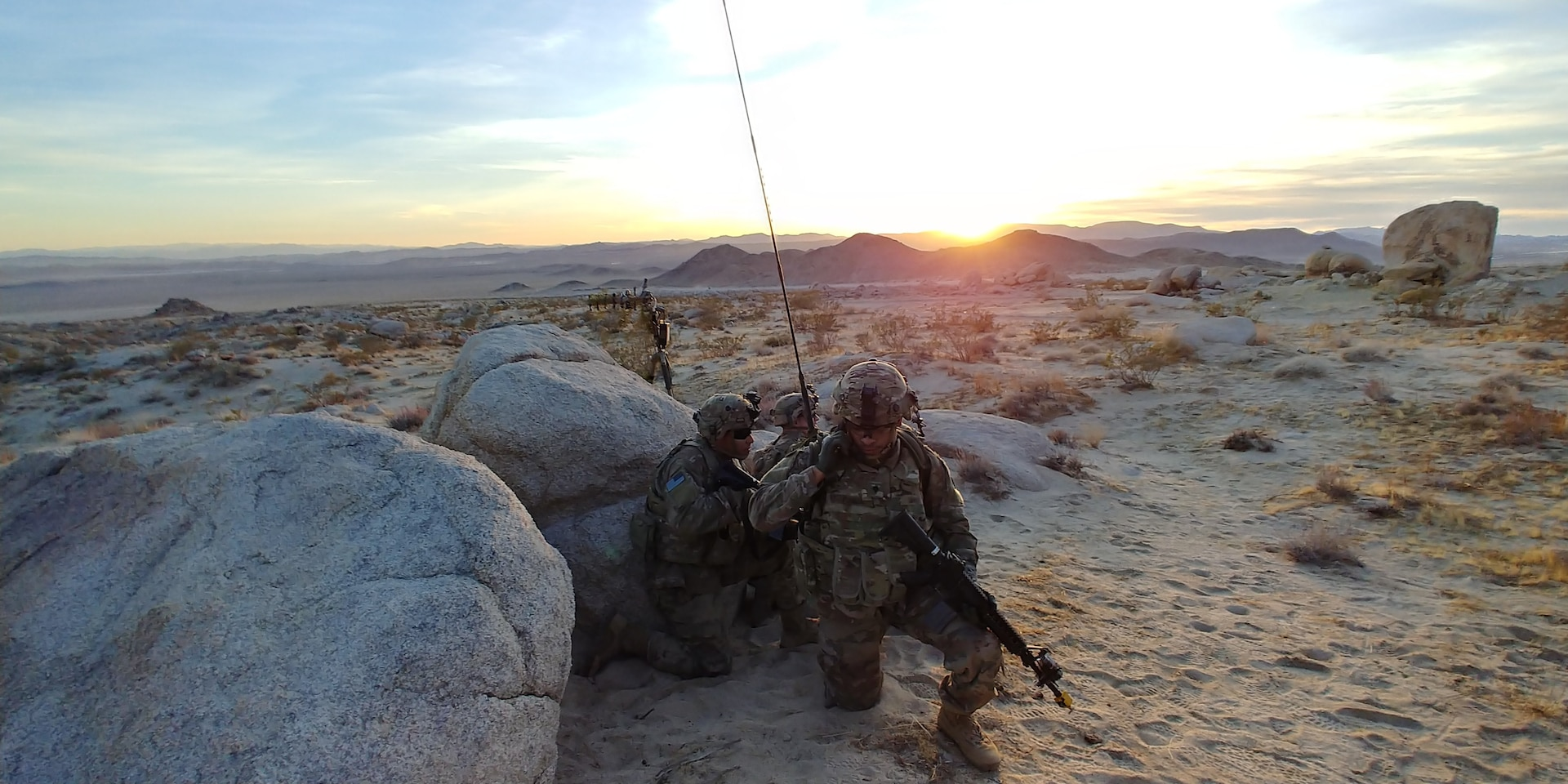 Soldiers from Expeditionary Cyber Support Detachment, 782nd Military Intelligence Battalion (Cyber), provide offensive operations in support of 1st Stryker Brigade Combat Team, 4th Infantry Division, during seizure of town at National Training Center, Rotation 18-03, Fort Irwin, California, January 18, 2018 (U.S. Army/Adam Schinder)