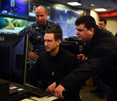 Sailors stand watch in the Fleet Operations Center at the headquarters of U.S. Fleet Cyber Command/U.S. 10th Fleet Dec. 14, 2017. U.S. Fleet Cyber Command serves as the Navy component command to U.S. Strategic Command and U.S. Cyber Command. U.S. 10th Fleet is the operational arm of Fleet Cyber Command and executes its mission through a task force structure.