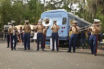 The Parris Island Marine Band performs at Kids Fest in Beaufort, S.C. April 7. Kids Fest was held to help raise awareness for the month of the military child and child abuse prevention month. Marine Corps Community Services hosted the event, organizing informational booths, resources and entertainment.