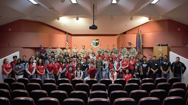 Students from De Anza High School pose for a picture in the David Grant USAF Medical Center auditorium March 29 at Travis Air Force Base, Calif.