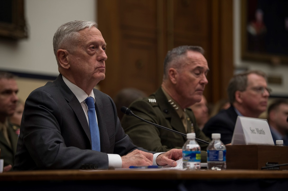 Defense Secretary James N. Mattis; Marine Corps Gen. Joe Dunford, chairman of the Joint Chiefs of Staff; and David L. Norquist, Defense Department comptroller and chief financial officer, testify on the fiscal year 2019 defense budget request.