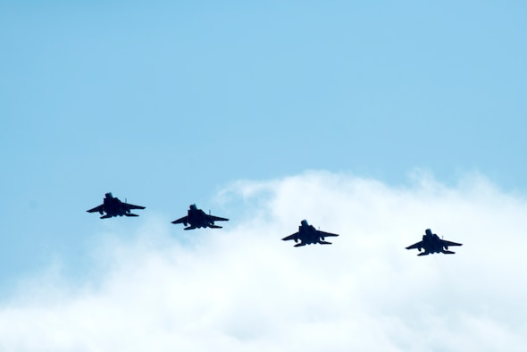 F-15E Strike Eagles from the 336th Fighter Squadron return home from deployment, April 11, 2018, at Seymour Johnson Air Force Base, North Carolina.