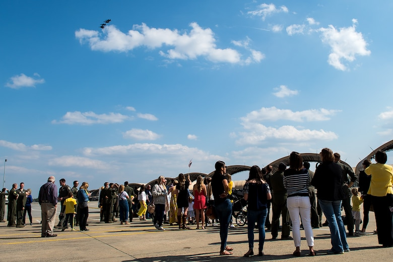 Families and friends wait for Airmen from the 336th Fighter Squadron to land, April 11, 2018, at Seymour Johnson Air Force Base, North Carolina.