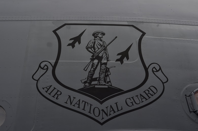 An Air National Guard emblem on a C-17 Globemaster III, previously assigned to Joint Base Charleston, S.C., sits on the flightline during preparation for relocation to Charlotte, N.C. April 4, 2018.