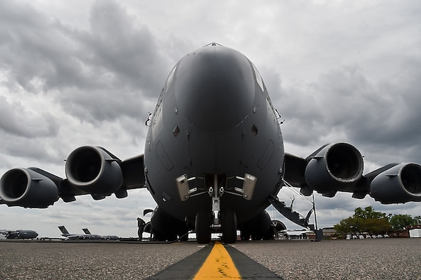A C-17 Globemaster III, sits on the flightline at Joint Base Charleston, S.C., as it is prepared for transfer to the Charlotte Air National Guard, N.C., April 4, 2018.