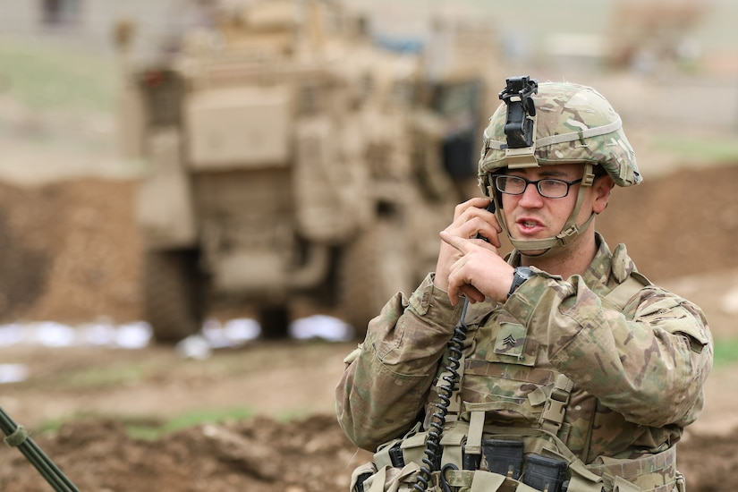 Soldier assigned to 2nd Brigade Combat Team, 82nd Airborne Division, checks mortar data during fire mission in support of 9th Iraqi Army Division near Al Tarab, Iraq, during offensive to liberate West Mosul from ISIS, March 18, 2017 (U.S. Army/Jason Hull)