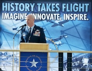 Col. Michael Manion, 55th Wing commander, gives opening remarks to a crowd during the War and Peace event commemorating the 70th anniversary of the U.S. Air Force and 100th anniversary of the U.K. Royal Air Force ceremony on April 7, 2018 inside the Strategic Air and Space Museum in Ashland, Nebraska.