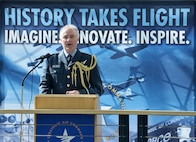 Royal Air Force Air Commodore James Linter, Air Attaché, speaks on the relationship with the RAF and U.S. Air Force has grown over the years during the War and Peace event commemorating the 70th anniversary of the U.S. Air Force and 100th anniversary of the U.K. Royal Air Force ceremony on April 7, 2018 inside the Strategic Air and Space Museum in Ashland, Nebraska.