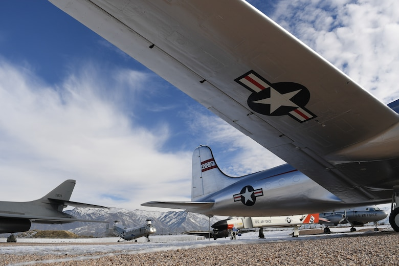 Vintage aircraft sit on display at the Hill Aerospace Museum Jan. 3, 2018. Admission is free to the museum located at Hill Air Force Base, Utah. (U.S. Air Force photo by Cynthia Griggs)