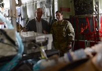 Mr. Shon Manasco, Assistant Secretary of the Air Force for Manpower and Reserve Affairs, visits members at the 455th Air Expeditionary Wing at Bagram Airfield, Afghanistan April 10, 2018.