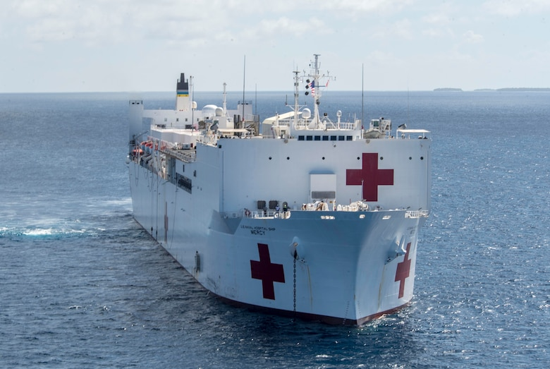 PACIFIC OCEAN (March 20, 2018) Military Sealift Command hospital ship USNS Mercy (T-AH 19) remains anchored in waters near the Ulithi Atoll for a photography exercise while en route to the Mercy's first mission stop of Pacific PartnMilitary Sealift Cership 2018 (PP18). PP18's mission is to work collectively with host and partner nations to enhance regional interoperability and disaster response capabilities, increase stability and security in the region, and foster new and enduring friendships across the Indo-Pacific Region. Pacific Partnership, now in its 13th iteration, is the largest annual multinational humanitarian assistance and disaster relief preparedness mission conducted in the Indo-Pacific.