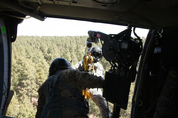 Army National Guard members perform hoist training with Alpine Search and Rescue members during Alpine Guard 2018.