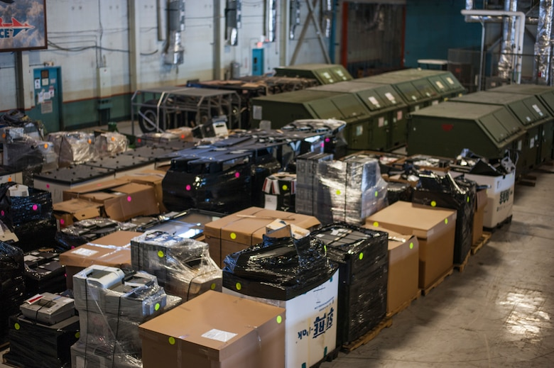 Pallets of inventory items stored in a temporary location inside the 6th Logistics Readiness Squadron warehouse at MacDill Air Force Base, Fla., April 11, 2018.