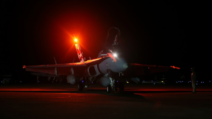An F/A-18C Hornet prepares for takeoff aboard Marine Corps Air Station Beaufort, April 9. The Hornet is with Marine Fighter Attack Squadron 115 and deployed in support of combat operation overseas. While deployed, the squadron will coordinate with our international partners and other branches of the U.S. military in order to ensure the mission is accomplished and freedom is protected.