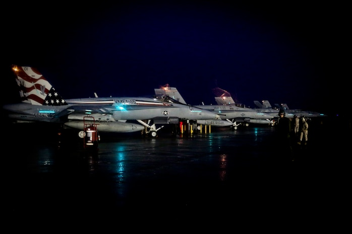 F/A-18C Hornets is with Marine Fighter Attack Squadron 115 and deployed in support of combat operation overseas. While deployed, the squadron will coordinate with our international partners and other branches of the U.S. military in order to ensure the mission is accomplished and freedom is protected.