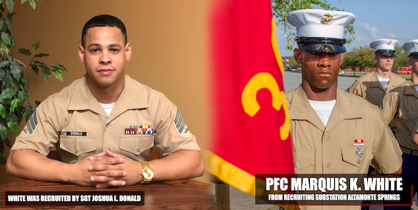 Private First Class Marquis K. White graduated Marine Corps recruit training Apr. 13, 2018, aboard Marine Corps Recruit Depot Parris Island, South Carolina. White was the Honor Graduate of platoon 3024. White was recruited by Sgt. Joshua L. Donald from Recruiting Substation Altamonte Springs. (U.S. Marine Corps photo by Cpl. Jorge A. Rosales)