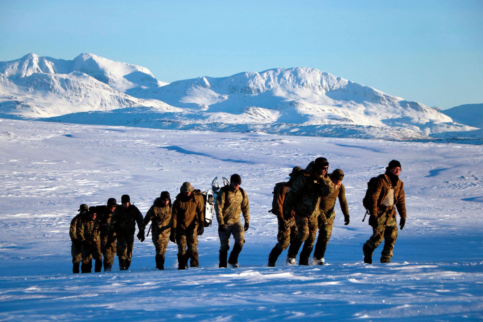 Explosive Ordnance Disposal Mobile Unit 8 and Norwegian army explosive ordnance disposal team participate in cold-weather endurance ruck march during Exercise Arctic Specialist 2017, Ramsund, Norway, February 5, 2017 (U.S. Navy/Seth Wartak)