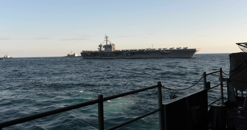 USS Ronald Reagan, USS Theodore Roosevelt, and USS Nimitz conduct operations in international waters as part of three-carrier strike force exercise, Western Pacific, November 12, 2017 (U.S. Navy/James Ku)